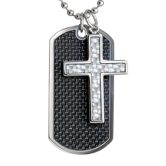 Mens Stainless Steel and Carbon Fiber Dog Tag and Moveable Cross Pendant Necklace