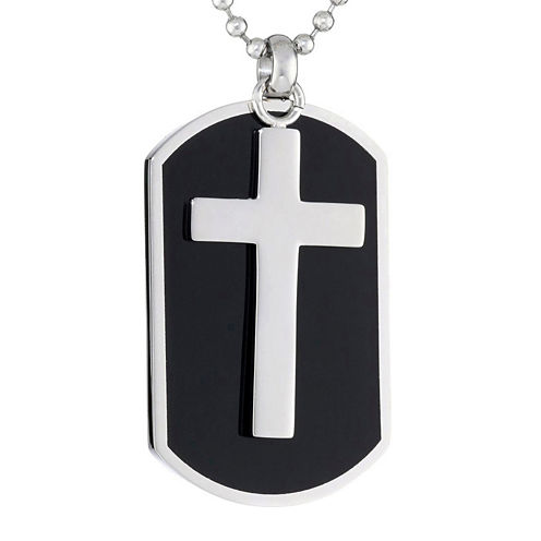 Mens Stainless Steel Dog Tag and Moveable Cross Pendant Necklace