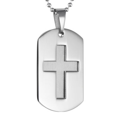 Mens Stainless Steel Dog Tag Pendant Necklace with Cut-Out Cross