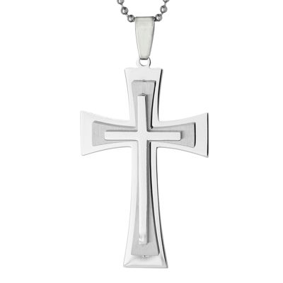 Mens Stainless Steel Triple Layer Cross Pendant