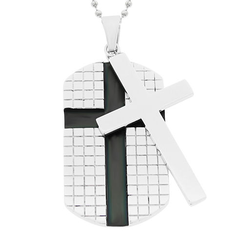 Mens Stainless Steel Dog Tag and Moveable Cross Pendant