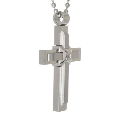 Mens Cubic Zirconia Stainless Steel Triple Layer Cross Pendant Necklace