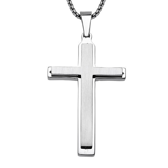 Mens Stainless Steel Double Layer Cross Pendant Necklace