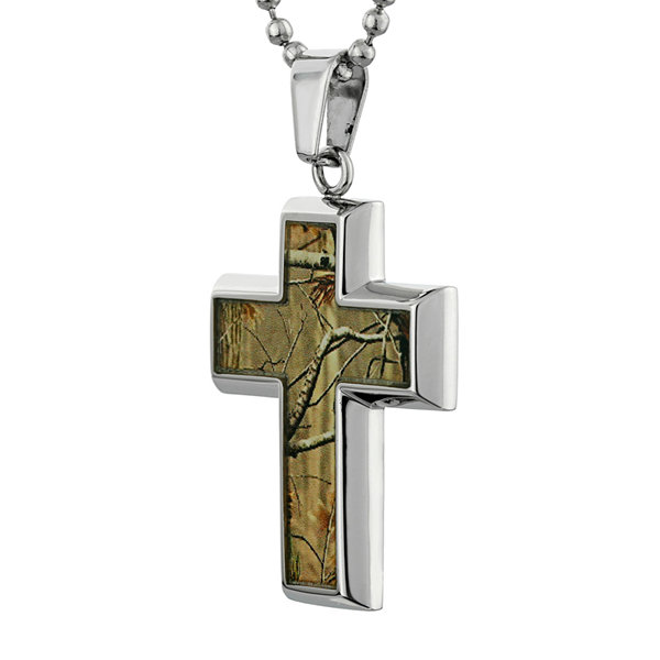 Mens Stainless Steel and Camouflage Cross Pendant Necklace