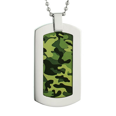 Mens Stainless Steel and Camouflage Dog Tag Pendant Necklace