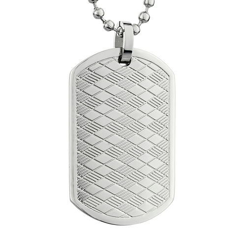 Mens Stainless Steel Argyle Texture Dog Tag Pendant Necklace