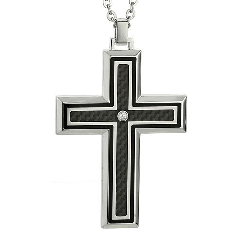Mens Diamond Accent Stainless Steel Cross Pendant Necklace