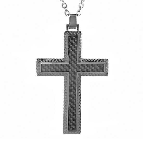 Mens Gunmetal Gray IP Stainless Steel and Carbon Fiber Cross Pendant Necklace