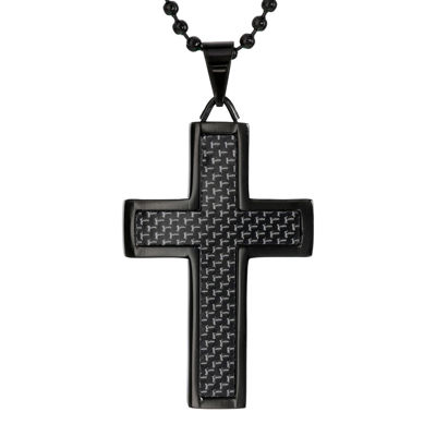 Black Stainless Steel Cross Pendant Necklace with Carbon Fiber Inlay