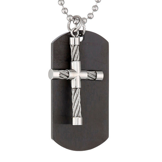 Mens Stainless Steel and Black IP Dog Tag and Moveable Cross Pendant