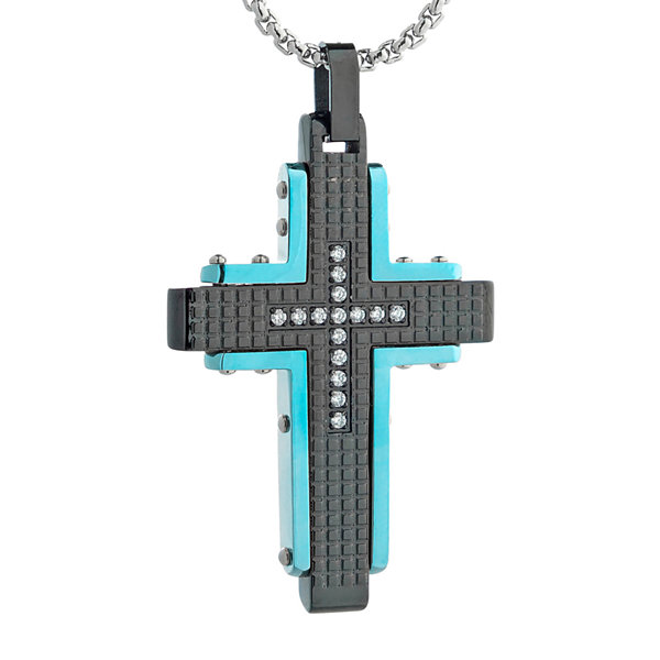 Mens cubic zirconia black stainless steel and blue ip textured cross mens cubic zirconia black stainless steel and blue ip textured cross pendant necklace aloadofball Images