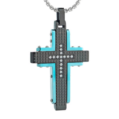 Mens Cubic Zirconia Black Stainless Steel and Blue IP Textured Cross Pendant Necklace