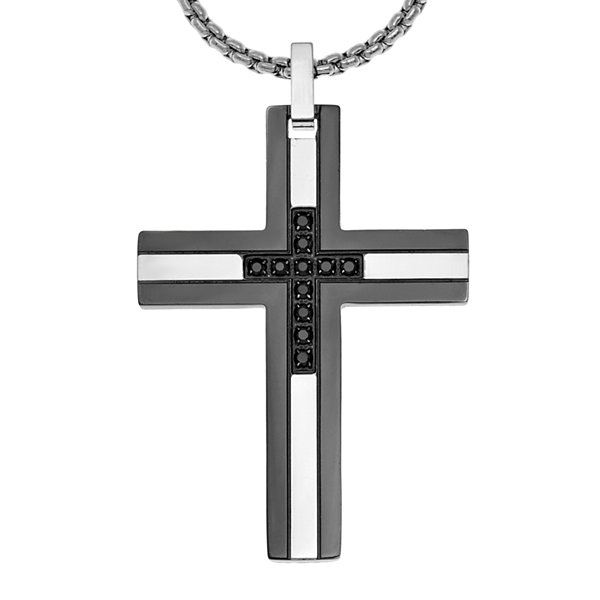 Mens 1/6 CT. T.W. Diamond Black Stainless Steel Cross Pendant Necklace