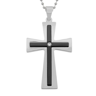 Mens Cubic Zirconia Two-Tone Stainless Steel Double Layer Cross Pendant Necklace