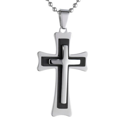 Mens Two-Tone Stainless Steel Triple Layer Cross Pendant