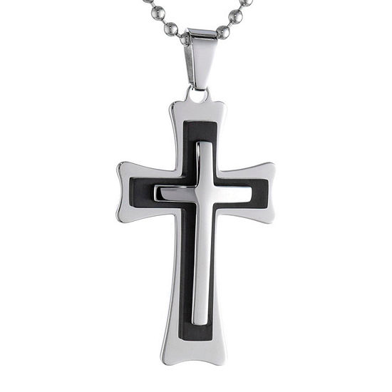 d6530ad1a599 Mens Two-Tone Stainless Steel Triple Layer Cross Pendant - JCPenney