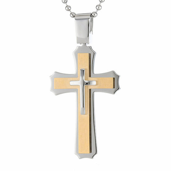 Mens Two-Tone Stainless Steel Triple Layer Cross Pendant Necklace