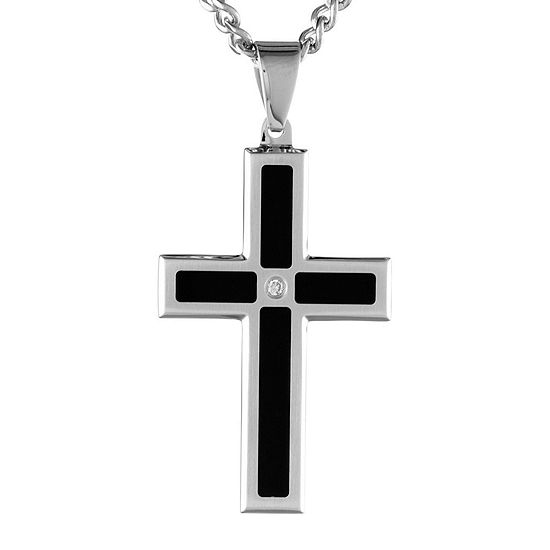 Mens Diamond Accent Two-Tone Stainless Steel Cross Pendant Necklace
