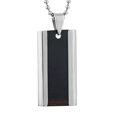 Mens Two-Tone Stainless Steel Dog Tag Pendant Necklace with Wooden Inlay