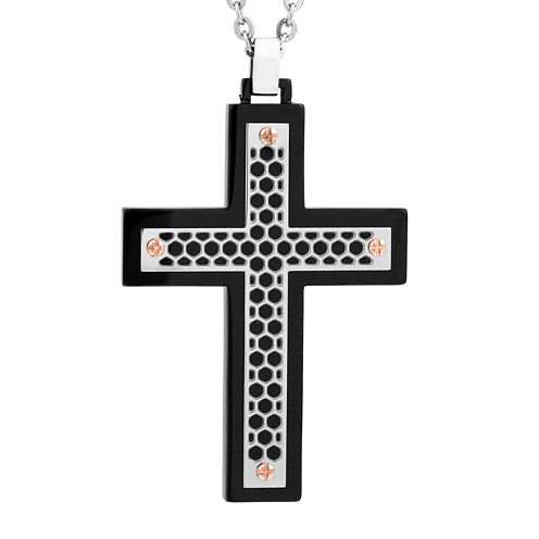 Mens Two-tone Stainless Steel Cutout Cross Pendant Necklace