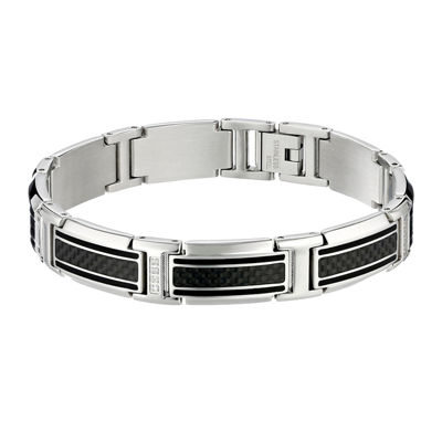 Mens 1/10 CT. T.W. Diamond Stainless Steel and Carbon Fiber Link Bracelet