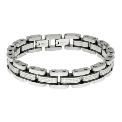 Mens Black IP Stainless Steel Textured Bracelet