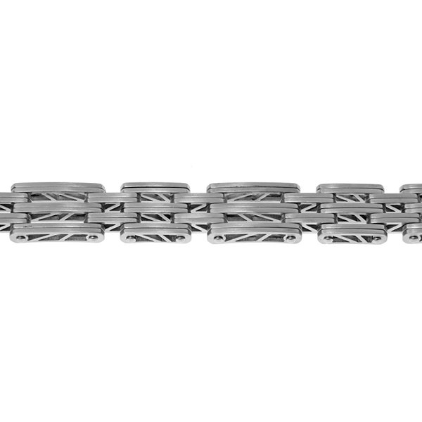 Mens Stainless Steel Chain Bracelet with Lock Extender