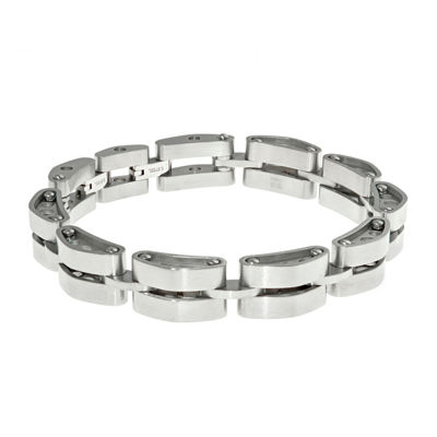 Mens Stainless Steel Tank Link Bracelet with Lock Extender