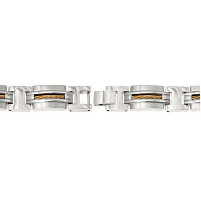 Mens Stainless Steel and Gold-Tone IP Cable Inlay Link Bracelet