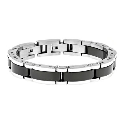 Mens Stainless Steel and Black Ceramic Link Bracelet