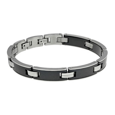 Mens Stainless Steel and Black Ceramic Link Bracelet