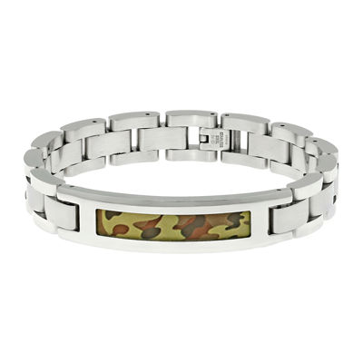 Mens Stainless Steel ID Bracelet with Camouflage Pattern