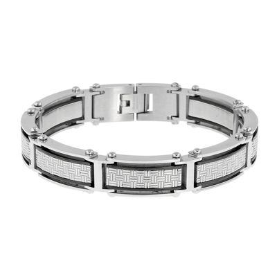 Mens Black IP Stainless Steel Textured Chain Bracelet