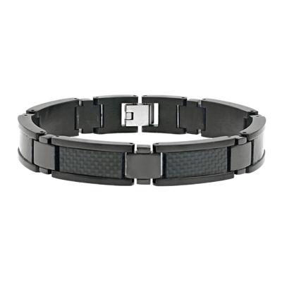 Mens Black IP Stainless Steel and Carbon Fiber Chain Bracelet