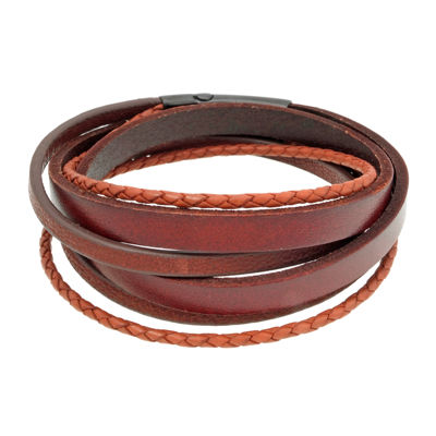 Mens Brown Leather and Stainless Steel Wrap Bracelet