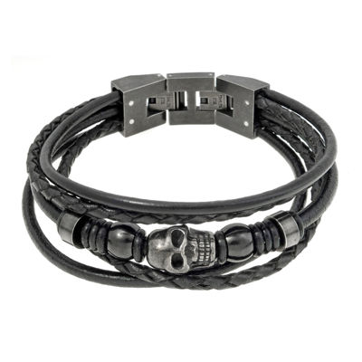 Mens Black Leather and Stainless Steel Skull Bracelet