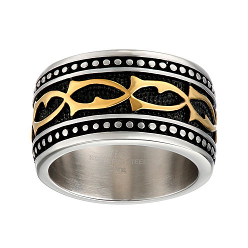 Mens Stainless Steel Band Ring with Multicolored Plating