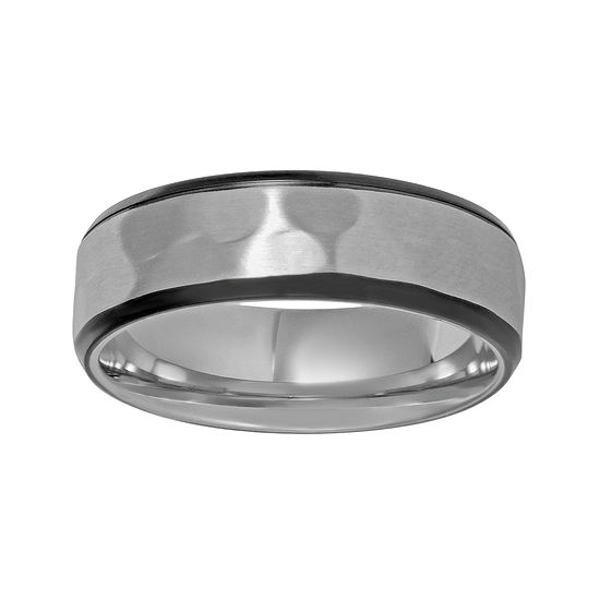 Mens Hammered Texture Stainless Steel Band Ring