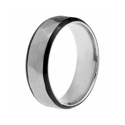 Mens Hammered-Texture Stainless Steel Band Ring