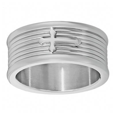 Mens Stainless Steel Textured Band with Cross Accent