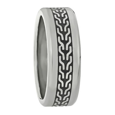 Mens Stainless Steel Band Ring with Black Plating