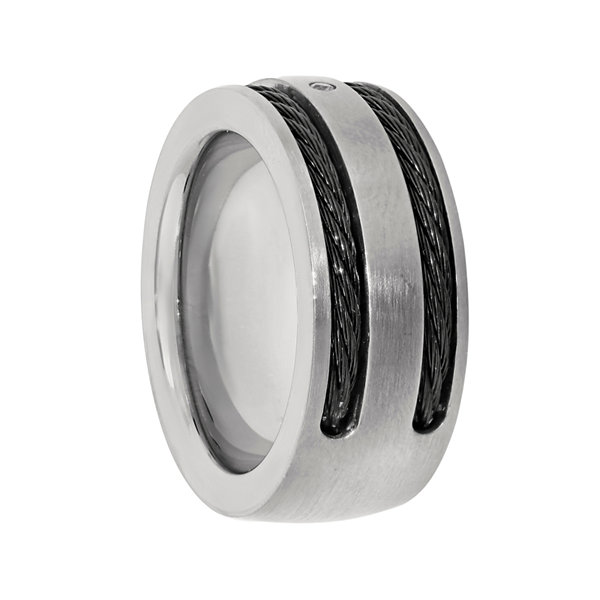 Mens Cubic Zirconia Titanium Band with Black Cable Inlay