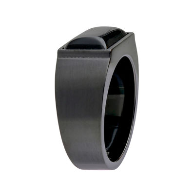 Mens Black Agate Stainless Steel Black Band Ring