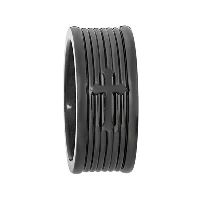 Mens Black IP Stainless Steel Textured Band with Cross Accent
