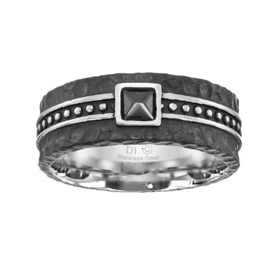 Mens Cubic Zirconia Black Stainless Steel Band