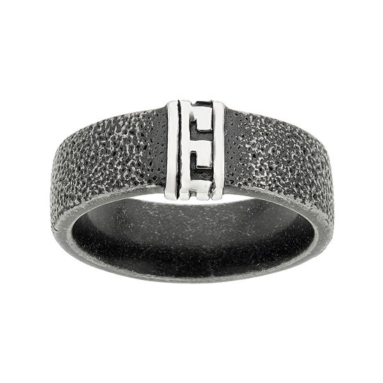 Mens Black Stainless Steel Band With Greek Design