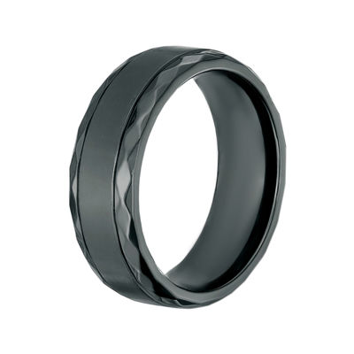 Mens Black Zirconium Band Ring with Diamond Texture