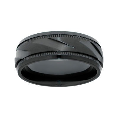 Men's Black Zirconium Band Ring with Ribbed Texture