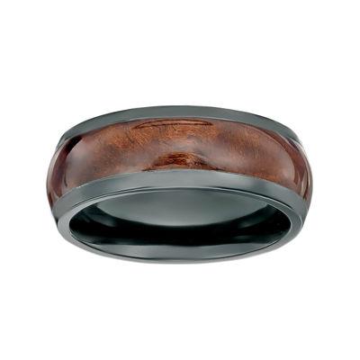 Mens Black Zirconium Band Ring with Wood Inlay