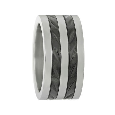 Mens Two-Tone Stainless Steel Band Ring with Textured Black Plating